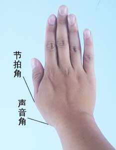 拇指上的节拍角和声音角位置